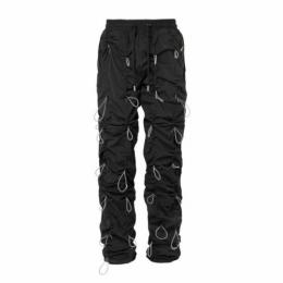 URKOOL BLACK BUNGEE PANTS - WHITE CORD