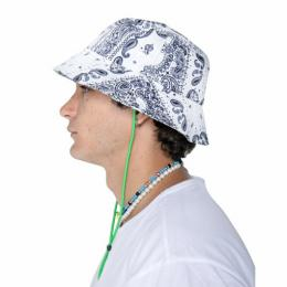 EPTM TIE DYED BANDANA BUCKET HAT - WHITE