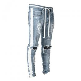 LAKENZIE DISTRESSED TRACK DENIM - LIGHT STONE