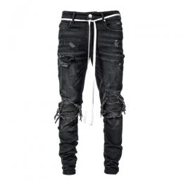LAKENZIE BIKER PATCH DENIM - BLACK