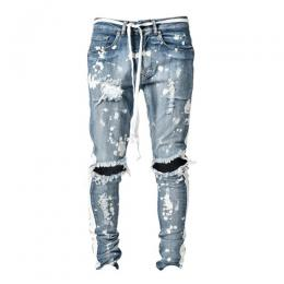 LAKENZIE DISTRESSED TRACK DENIM - SPLATTER