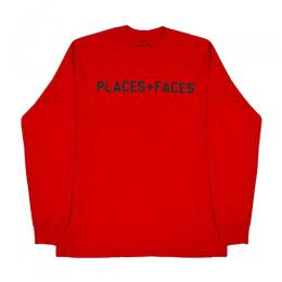 PLACES+FACES LONG SLEEVE LOGO TEE  (L/S) / RED