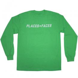 PLACES+FACES 3M LOGO LONG SLEEVE T-SHIRT / GREEN