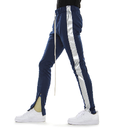 EPTM TRACK PANTS - NAVY/SILVER VEGAN LEATHER